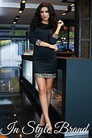 Чёрное молодёжное платье с леопардовыми вставками. Арт-5454/56