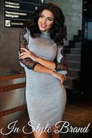 Серое трикотажное платье с кружевными вставками. Арт-5456/56