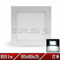 Светильник LED врезной квадратный, 220 В, 12 Вт, Белый