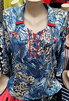 Нарядная батальная блуза со шнуровкой