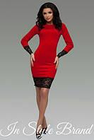 Стильное красное платье с кружевными вставками. Арт-5458/56