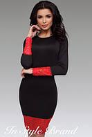 Стильное чёрное платье с кружевными вставками. Арт-5458/56