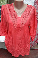 Блуза свободного кроя модного кораллового цвета