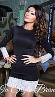 Облегающее чёрное платье с белыми кружевными вставками. Арт-5459/56