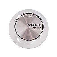 Колпачки заглушки для литых дисков Volk Racing белый c серебристым логотипом 65мм