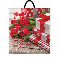 Пакет пластиковая ручка Тюльпаны 40*42 10шт/уп