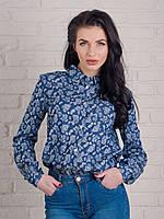 Модная рубашка классического кроя из джинса с прикольным рисунком