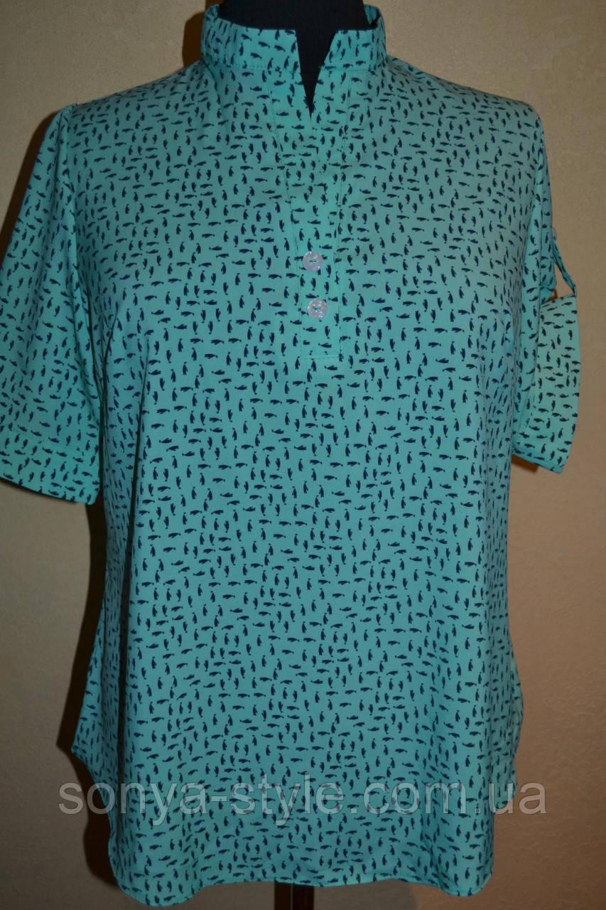 """Женская блузка """"Воротник стойка"""" больших размеров"""