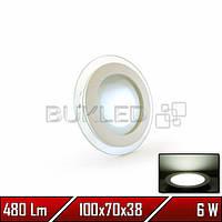 Светильник круглый со стеклянным контуром, 220 В, 6 Вт,  Белый