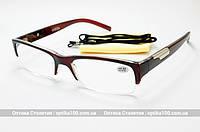 Очки для зрения с диоптриями (+/-). Полуободковая пластиковая оправа