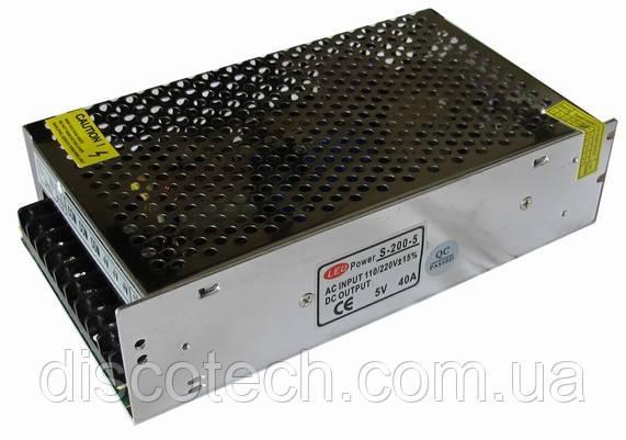 Блок питания  5V/200W 40А IP20 S-200-5