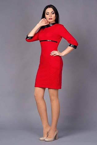 Приталенное платье с отделками кожи, фото 2
