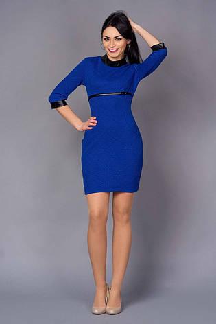 Приталенное платье с элементами кожи, фото 2