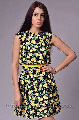 Женское стильное платье c лимонами