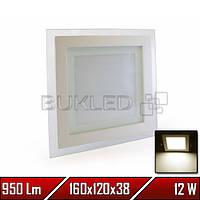 Светильник квадратный со стеклянным контуром, 220 В, 12 Вт, Теплый Белый