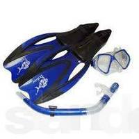 Набор для плавания стеклянная маска + трубка с клапаном +ласты с закрытой пяткой