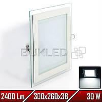 Светильник квадратный со стеклянным контуром, 220 В, 30 Вт, Белый