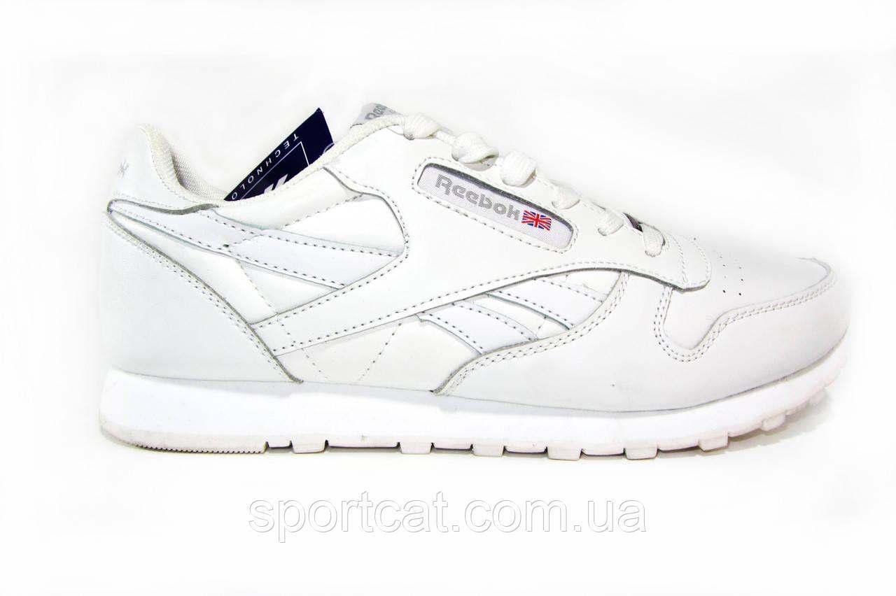 Мужские  кроссовки Reebok  classic, кожаные, белые