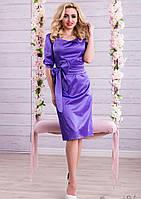 Роскошное Атласное Платье с Поясом Фиолетовое M-2XL