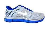 Мужские  кроссовки Nike Free, белые с синим, Р. 41 44 45 46