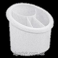 Подставка для столовых приборов (овал) Белый флок