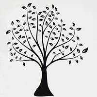 Виниловая наклейка - Черно-белое дерево с листьями