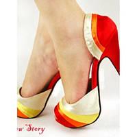 РАСПРОДАЖА! Яркие но нежные туфли, стильные, на высокой платформе с грациозной шпилькой
