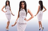 """Элегантный женский костюм с юбкой средней длины 274 """"Прошва Баска"""" в расцветках"""