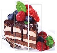 """Четырехмодульная картина """"Шоколадный торт"""""""