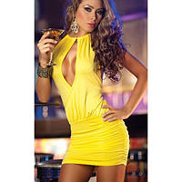 Яркое солнечное платье с сексапильным вырезом на груди