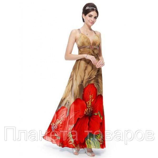 Платье бежевое с красными цветами