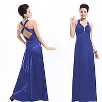 Элегантное синее вечернее платье