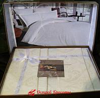 Постельное белье Prima Casa Damask krem Жаккард c кружевом (комплект евро) 320100606