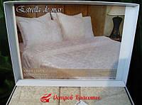 Постельное белье сатин с кружевом Estrella bej (комплект евро) 320100685