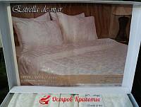 Постельное белье сатин с кружевом Estrella krem (комплект евро) 320100686