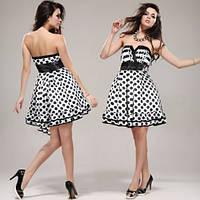 Платье-бандо с гороховым принтом