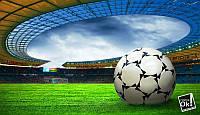 Постер глянцевый - Футбольный мяч на поле, 105x60см