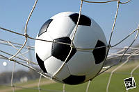 Постер глянцевый - Футбольный мяч в сетке, 91x60см