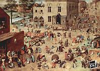 Постер глянцевый - Картина Серия так называемых лубочных картин, Детские забавы, 84x60см