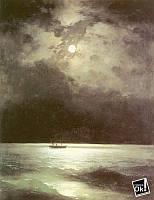 Постер глянцевый - Картина Черное море ночью, 60x78см
