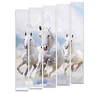 """Пятимодульная картина """"Белые лошади"""""""
