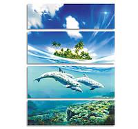 """Модульная картина для спальни """"Дельфины"""""""