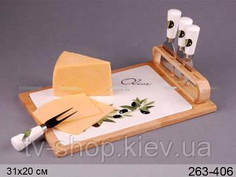 Блюдо для сыра на подставке с ножами Олива