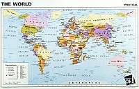 Постер глянцевый - Политическая карта Мира, 93x60см