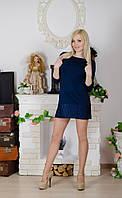 Туника женская с гипюром темно-синяя
