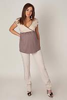 Легкие брюки для беременных зауженные Бежевые