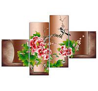 """Модульная картина """"Цветы на коричневом фоне"""", фото 1"""