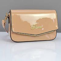 Бежевая маленькая сумочка лаковая женская, фото 1