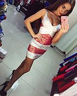 Комбинированное платье с утяжкой