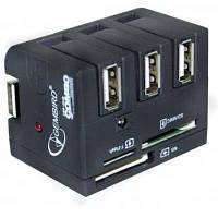 Концентратор USB2.0  Gembird UHB-FD1 3port+cartreader